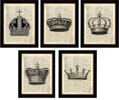 Crown Print  Set of 5 Beautiful Crown Prints on Upcycled 1896 Latin English Dictionary Page mixed media  I  Etsy $24  (bedroom)