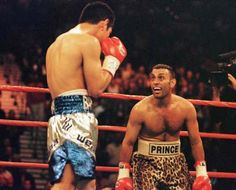 Boxer Prince Naseem. Marco Antonio Barrera gave him a thourough boxing lesson. The prince was one of the most powerful featherweight of all times, but he relied too much on it, like most bangers. Barrera set the records straight.
