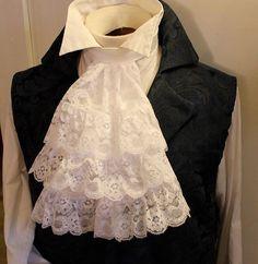FANCY White JABOT - 3 Tier Lace Ascot Cravat Necktie Tie