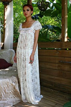Sheer Lace Bridal Nightgown  by Sarafina Dreams  maybe if we honey moon to a private beach...