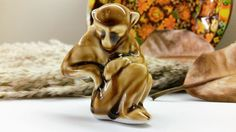 MONKEY FIGURINE Tan Glaze Wade Whimsie Style animal by CookNook
