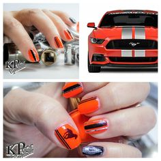 """Hot Rod Mustang nails When I purchased this @flossgloss """"FastLane"""" polish I envisioned these nails! A color this HOT screams Hot Rod! (I will post another collage of pics of these)  Photo @dphotosco  Products used: @flossgloss - FastLane  @kbshimmer - Eclipse  @julepmaven - Kris @twinkled_t - flames nail vinyls @twinkled_t - stripes nail vinyls @sechenails - Seche Vite top coat @opi_products - Nail Envy Other products - striping tape Nail Thins  #whencolourscollide #hotrod #mustang…"""