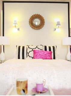white with a little black and pop of pink!