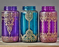 Patio bohemio tarro de masón con diseño de Henna por LITdecor