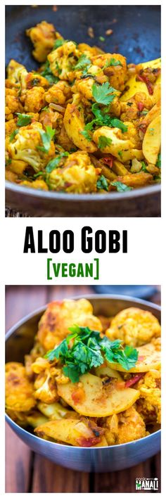 Aloo Gobi - Potatoes and cauliflower cooked with onion, tomatoes & spices is a popular Indian recipe.