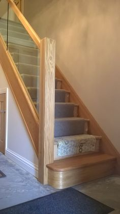lobley hill glass and oak b – staircase Glass Stair Balustrade, House Staircase, Staircase Railings, Staircases, Oak Banister, Bannister, Oak Stairs, Glass Stairs, Railing Design