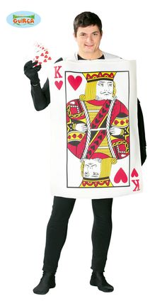 Adults mens king of hearts playing cards casino stag fancy dress costume outfit