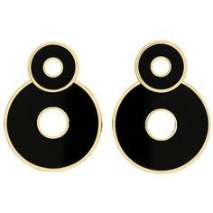 Retrouvaí Black Onyx Swivel Earrings ($3,795) ❤ liked on Polyvore featuring jewelry, earrings, accessories, black, brincos, 14 karat gold earrings, lightweight earrings, handcrafted earrings, hand crafted jewelry and earring jewelry