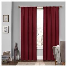 """Tricia Room Darkening Curtain Red (52""""x63"""") - Eclipse"""