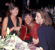 Linda Evangelista, Naomi Campbell and Christy Turlington at the Night of 100 Stars Gala at the Plaza in New York, 1989