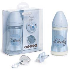 Suavinex Geschenkset Vintage Blue 3-teilig mit Weithalsflasche, Schnuller und Schnullerkette. Ab der Geburt. BPA-frei.