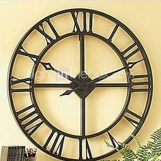 """24 """"chiffre romain horloge murale en métal dans un design élégant"""