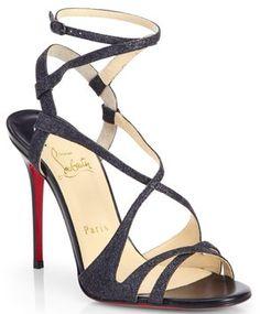 Christian Louboutin Audrey Black Glitter Crisscross Strappy Sandals 39.5