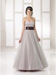Tulle and Satin Strapless Empire Sweetheart Neckline Floor-length Bridesmaid Dress