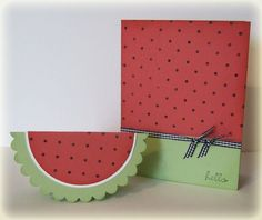 """Watermelons! :)...Stamps: Polka Dot Background Stamp 109276 and """"Hello""""  from Chic Boutique 113744...Created By:Chris Twing"""