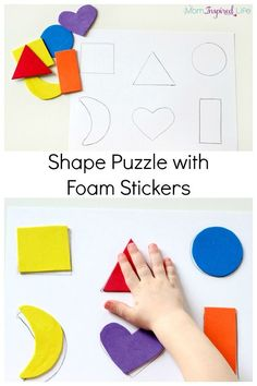 Shape Puzzle with Foam Stickers. A fun way to teach shapes to toddlers!