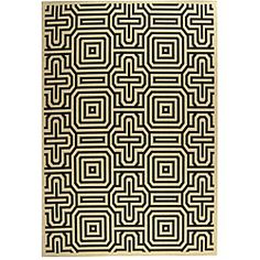 $270 Indoor/ Outdoor Matrix Sand/ Black Rug (9'2 x 12'6) | Overstock.com