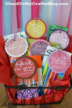 "Valentine Teacher/College Student/Student Gift Idea + Free Printable- Give needed school supplies with cute sayings.  You're so sharp(Sharpies, pencils or pencil sharpener), You rule(ruler), You are remark{er}able (markers), You are just ""write"" for me (pencils, pens), You are the highlight of my day (highlighters), Stuck on you (glue sticks, school glue or tape)."