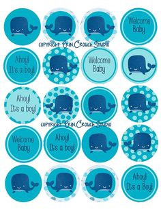 20 Printable Digital Cupcake Toppers for Ahoy it's a Boy Baby Shower Whale Theme in Blue Color Scheme. $3.00