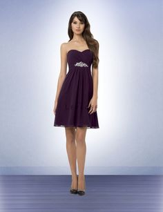 Chiffon strapless short dress with a soft sweetheart neckline. Rhinestones and beads adorn the empire with a center floral design. Soft front and back pleats accent the skirt.