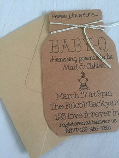 This invitation is a must have for a Baby-Q baby shower! Perfect baby shower themed for a co-ed shower. This is NOT a downloaded file, I make these all