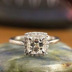1.04 carat Asscher Diamond Halo Engagement Ring from Steven Singer Jewelers