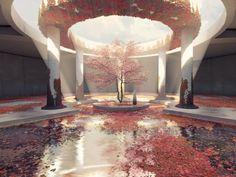 The Last Tree Shrine, Me, Digital, 2019 - Art Fantasy City, Fantasy Places, Fantasy World, Fantasy Art Landscapes, Fantasy Landscape, Fantasy Concept Art, Fantasy Artwork, Fantasy Setting, Environment Concept Art