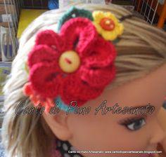 Canto do Pano Artesanato: Tiara com Flores de Crochê