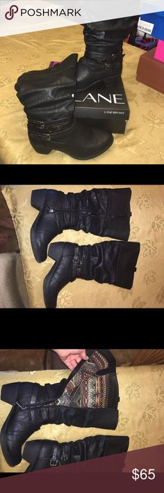 Black leather wide calf boots Lane Bryant black leather wide calf boots. Very comfy. Fit 18 inch calfs maybe 18.5 only worn a couple times in great condition. Lane Bryant Shoes Heeled Boots