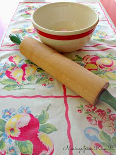 Vintage wooden rolling pin, linen, and bowl... Musings from Kim K.   #kitchen #vintage #retro