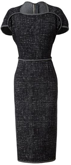 ROLAND MOURET  Gray Etched Jersey Pencil Dress |||   Monochrome etched jersey pencil dress with cushioned piping trim from Roland Mouret. Square neckline. Short sleeves. Inverted darts in the back. Defined waist. Exposed zip down back. Short hem split. Unlined. Double faced fabric. Hemline finishes above the knees. Defined front seams.