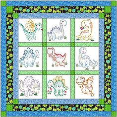 Quilt Kit Dinosaur Jungle/Pre Cut Ready to Sew/Finished Embroidery Material Maven