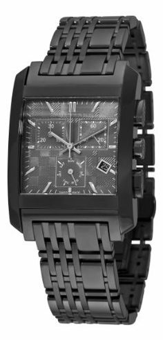 Burberry Men's BU1563 Square Grey Chronograph Dial Black Bracelet Watch Burberry. $495.00. Rectangular stainless steel case. Water-resistant to 165 feet (50 M). Stainless steel black bracelet; Push button deployant clasp. Day and date. Grey dial