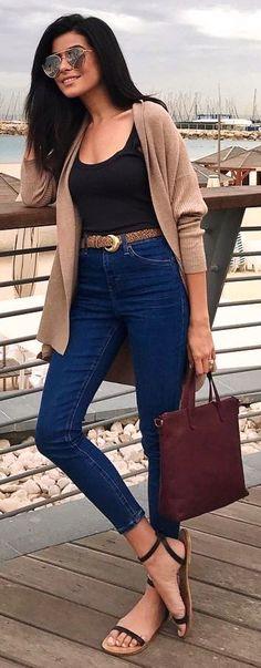 #winter #fashion / Camel Cardigan + Black Top