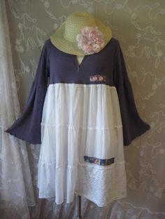 Bohemian Gypsy BoHo Clothing Lagenlook French Shabby Ladies Wear Beach Hippie Chic Hipster XXL Eco Upcycle Mixed Rustic XL Party Retro Pearl