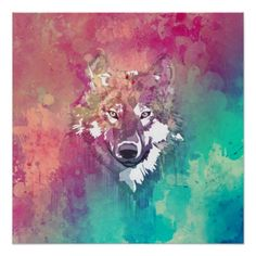 Pink Turquoise Watercolor Artistic Abstract Wolf Poster - Custom Prints - Design Your Own Posters - Create Personalized Wall Art
