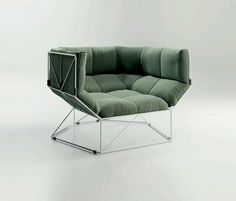 Luxurious deep mint green chair with wire legs and geometric details | Furniture design; interior design; styling; decor; designer; objects of desire | MINTY WARES | VIA - HER NEW TRIBE