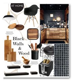 """Black Walls & Wood Kitchen"" by grapecrush ❤ liked on Polyvore featuring interior, interiors, interior design, home, home decor, interior decorating, ASOS, Franklin, Melannco and canvas"