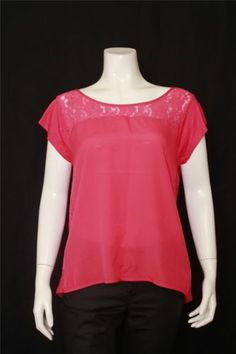 New Express Pink Scoop Neck Short Sleeves Lace Back Top Size M