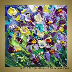 Original Modern Flowers Palette Knife Oil Painting by LUIZAVIZOLI, $49.00