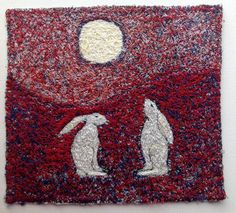 Two Hares And Moon  embroidered artworkstitched by ImagineNorth, £85.00