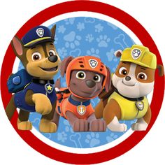 Paw Patrol in Red and Blue: Free Printable Party Kit.