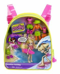 Polly Pocket Hawaiian Holiday Polly Travel Backpack by Mattel. $14.49. Girls will love the new Polly Pocket travel backpack. Giftable and portable play on the go. Hawaiian-inspired fashions and accessories. Includes 1 doll and piece-count fashions and accessories. Features a vinyl backpack with Polly doll with lots of fashions and accessories. From the Manufacturer                Polly Pocket Travel Backpack Collection: It's the best vacation ever. These on-the-go backpac...