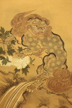 "images of shi shi masks | JAPANESE SHISHI | Japanese Hanging Scroll ""Karajishi Botan Shishi and ..."