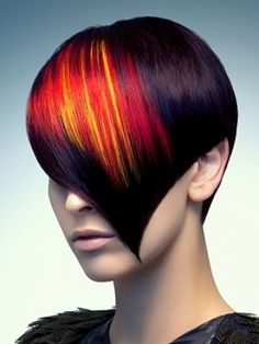 """colorful streaks in her heart shaped hair style Love her hair! => SOURCE: @Bendrix """"Hair and Style .ME"""" Board via."""