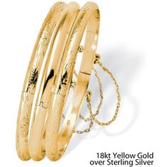 Palm Beach Jewelry PalmBeach Polished Engraved Three-Piece Bangle Set in Sterling Silver or 18k