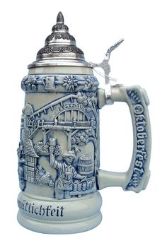 Oktoberfest celebration German beer stein features an Octoberfest party scene of German musicians, Bavarian brewmaster, maypole and glockenspiel. An Oktoberfest handle and beerwagon pewter lid complete this beer stein.