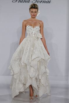 Bridal Gowns: Pnina Tornai Tea Length Wedding Dress with Sweetheart Neckline and Basque Waist Waistline