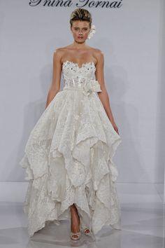 Bridal Gowns: Pnina Tornai Tea Length Wedding Dress with Sweetheart Neckline and Basque Waist Waistline