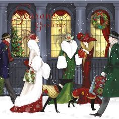 Art Deco Lady series; Christmas shopping -- by Claire Coxon